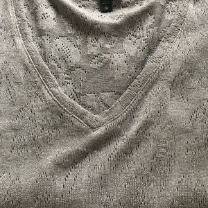 Gray and silver V neck sweater